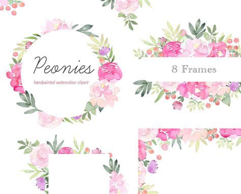 Floral Clip Art   Peonies Flower Frames, Pink Peony