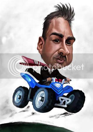 Four wheeler caricature