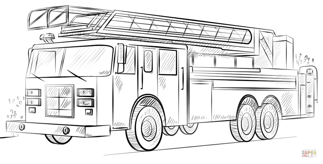 Fire Truck With Ladder Coloring Page Free Printable Coloring Pages
