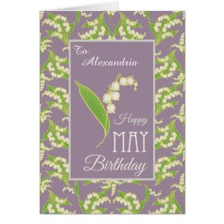 Lilies May Birthday Card to Personalize, Mauve