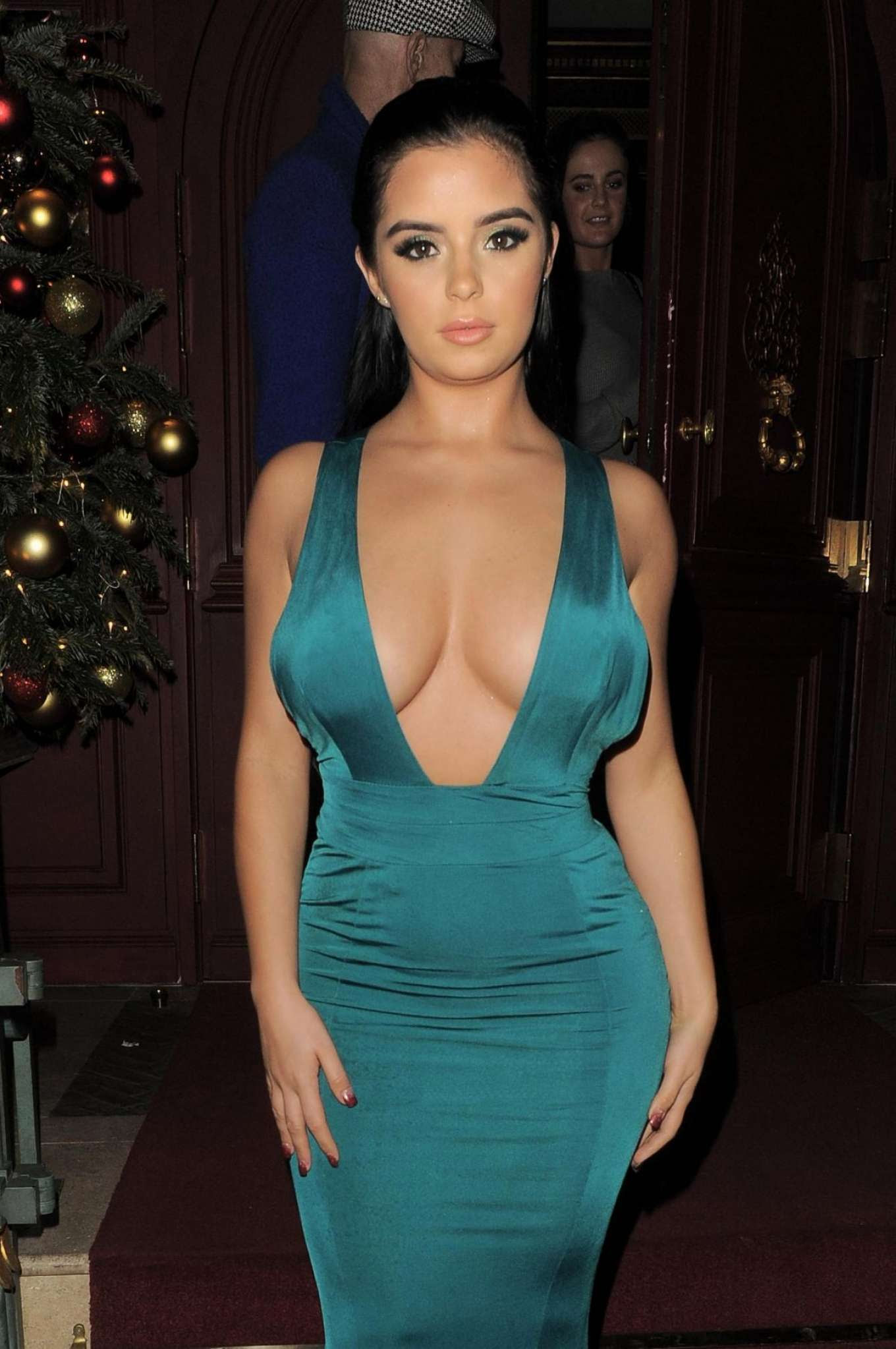 Demi Rose in Green Dress – Night Out in Mayfair