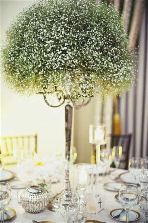 Baby's breath candelabra or centerpiece. Inexpensive way