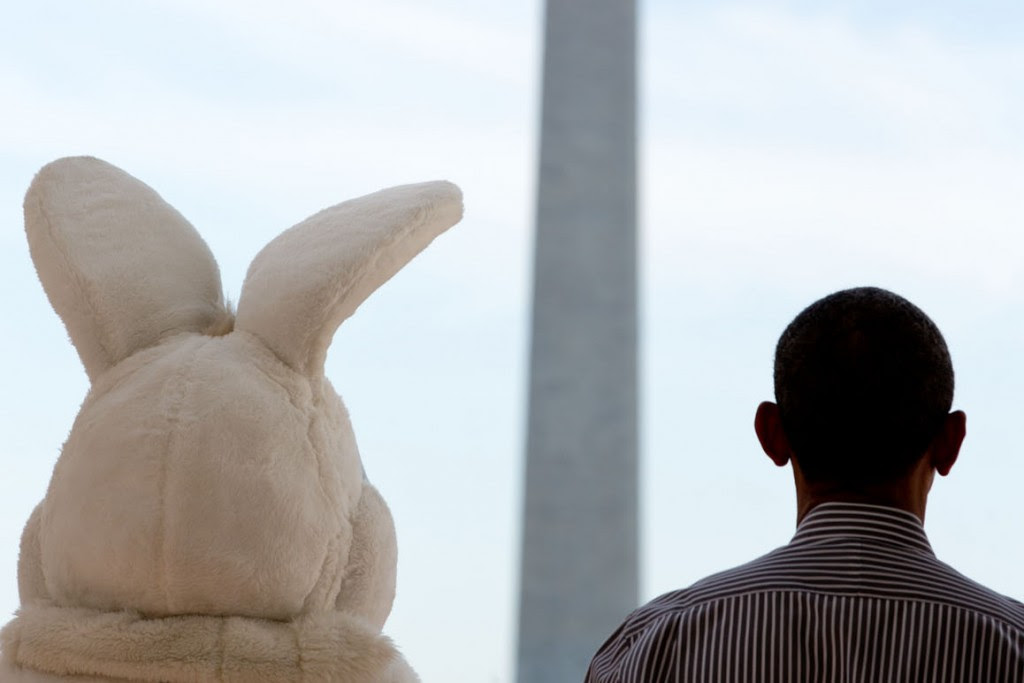 President Barack Obama and the Easter Bunny listen to the national anthem before the annual White House Easter Egg Roll, April 21, 2014. Photo: Pete Souza / White House