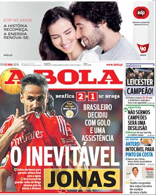 Leicester's title win was also featured on the front page of Portuguese paper A Bola