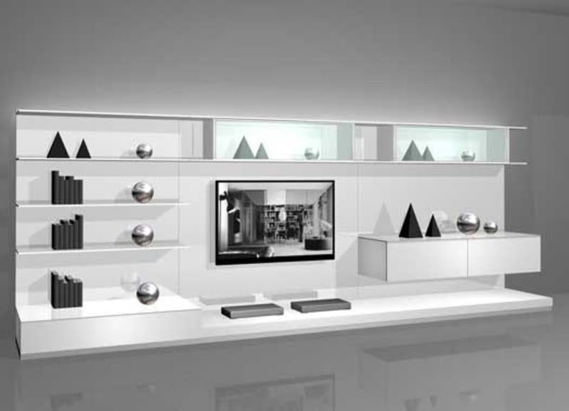White Wall Mounted Modern Tv Cabinets For Small Living Room Design 2