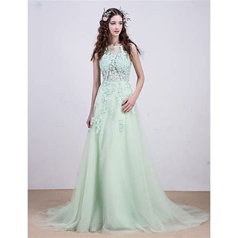 Evening dress   Light green beading on lace hollow