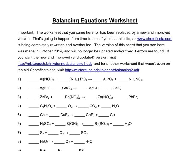 Balancing Equations Worksheet Answer Key Chemfiesta   best ...