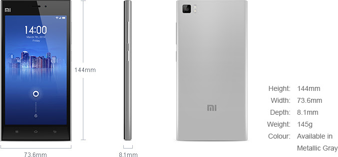 MI 3 weights and dimensions