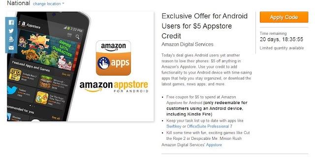Amazon giving away free $5 credit
