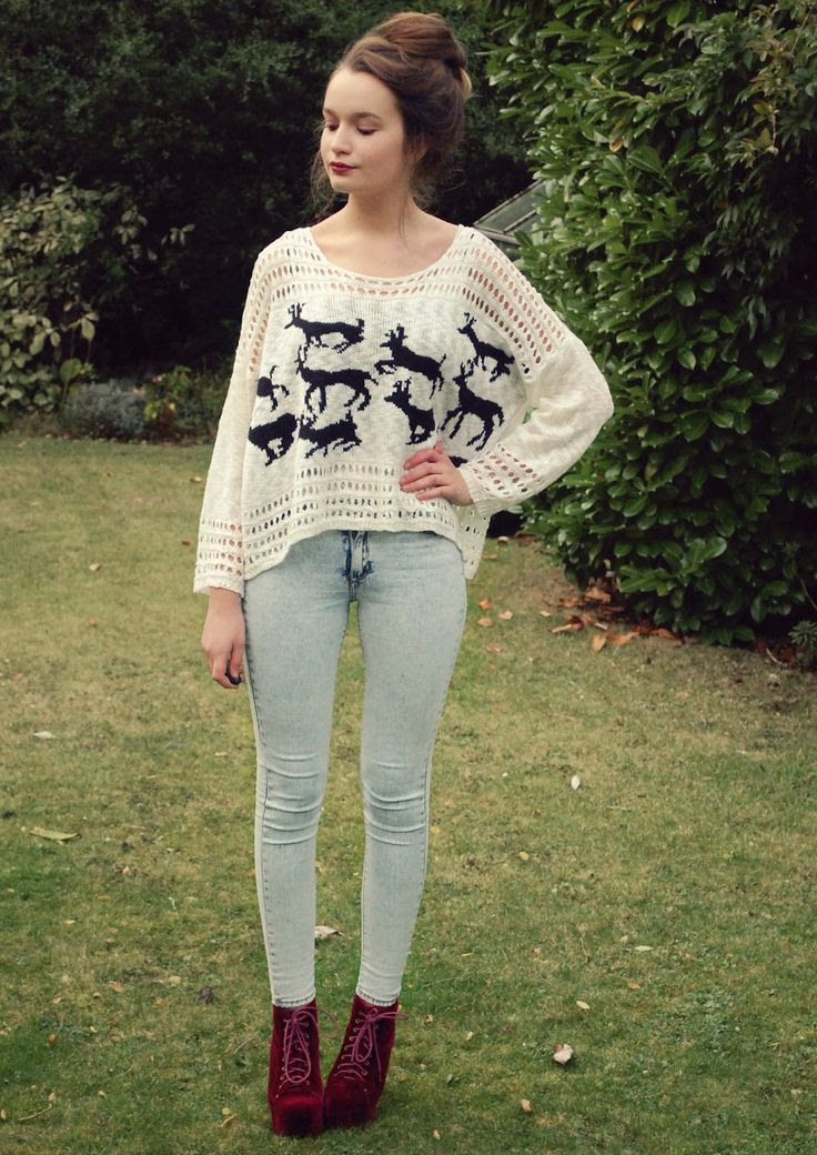 winter print sweater light wash jeans  threads fabric