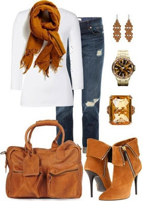 Fall outfit: ripped jeans, white long sleeved top, camel scarf, ankle boots and purse