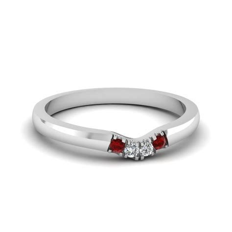 Classic 4 Diamond Curved Womens Wedding Band With Ruby In