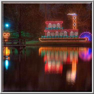 steamboat christmas light decoration in central park college station - College Station Christmas Lights Park