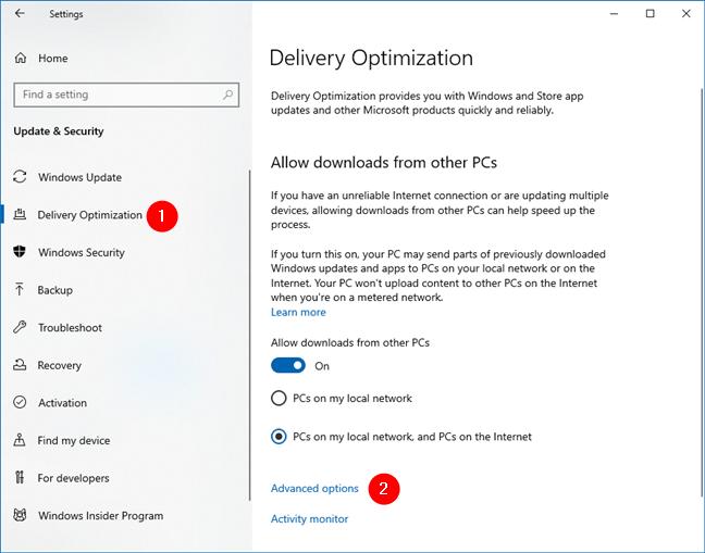 Acceda a las opciones avanzadas para optimizar la entrega