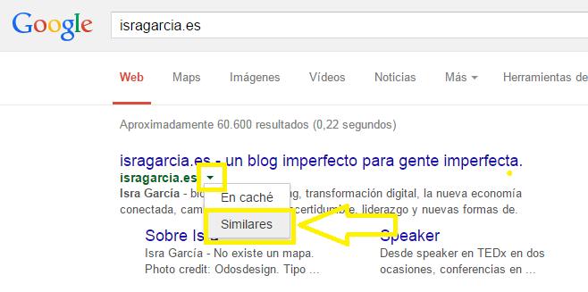 opción Similares de Google