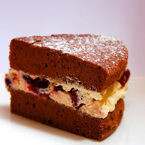 cherry chocolate sponge cake© by haalo
