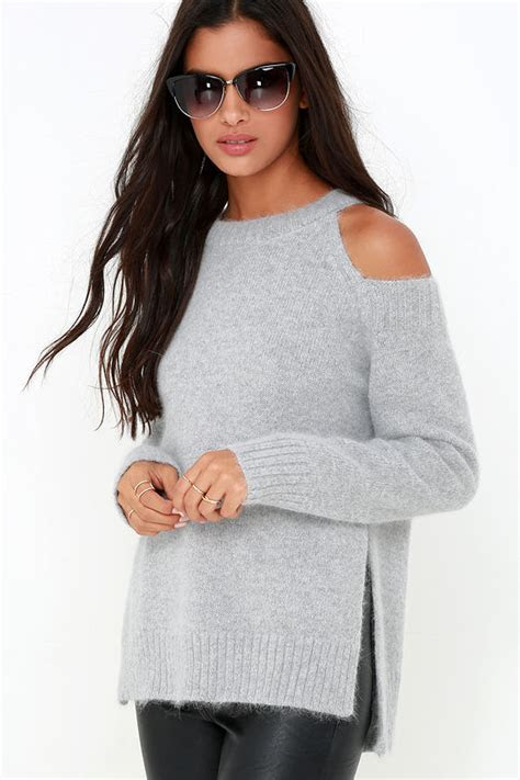 grey sweater soft knit sweater cold shoulder top