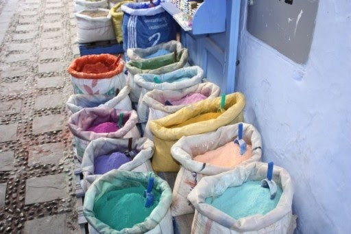Colorful paint pigment in Chefchaouen Morocco