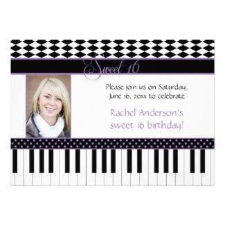 Purple Black Piano Theme Sweet 16 Birthday Card