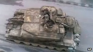 Screen grab of online video purportedly showing armoured fighting vehicle in Damascus (28 May 2012)