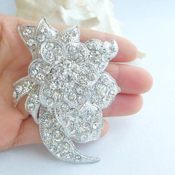 Bridal Jewelry, Beautiful Vintage Style Austrian Crystal Bridal Brooch, Wedding Bouquet, Wedding Decorations, Bridesmaid Gifts - BP04942C1