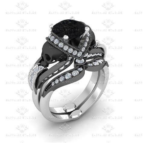 Skull Engagement Rings   Sapphire Studios Design