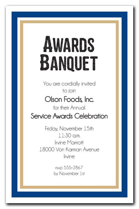 Navy Blue and Gold Border Business Awards Party Invitations