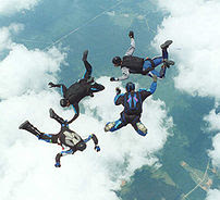Skydivers in the free fall portion of a parach...
