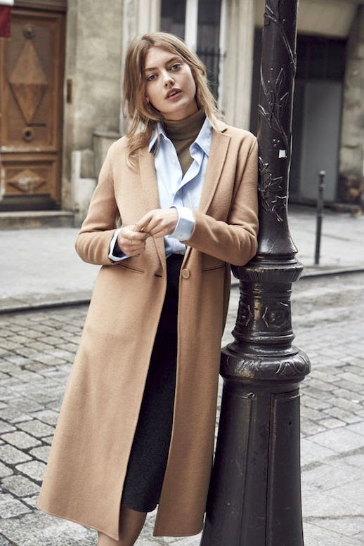 Le Fashion Blog Fall Style Layered Office Look Long Camel Coat Blue Button Down Shirt Olive Green Turtleneck Top Black Midi Skirt Via Grazia France