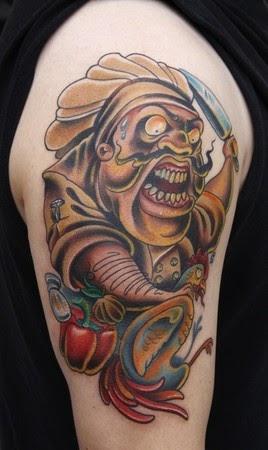 chef tattoo tattoos sleeve food devil half culinary tatuajes designs chefs alimentos tatuaje funny para koch llavero cosina hombres discover