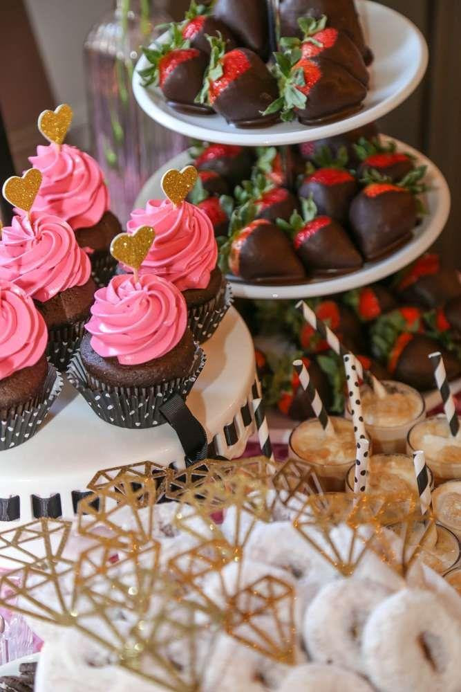 Black White Pink Gold Bridalwedding Shower Party Ideas 2360604