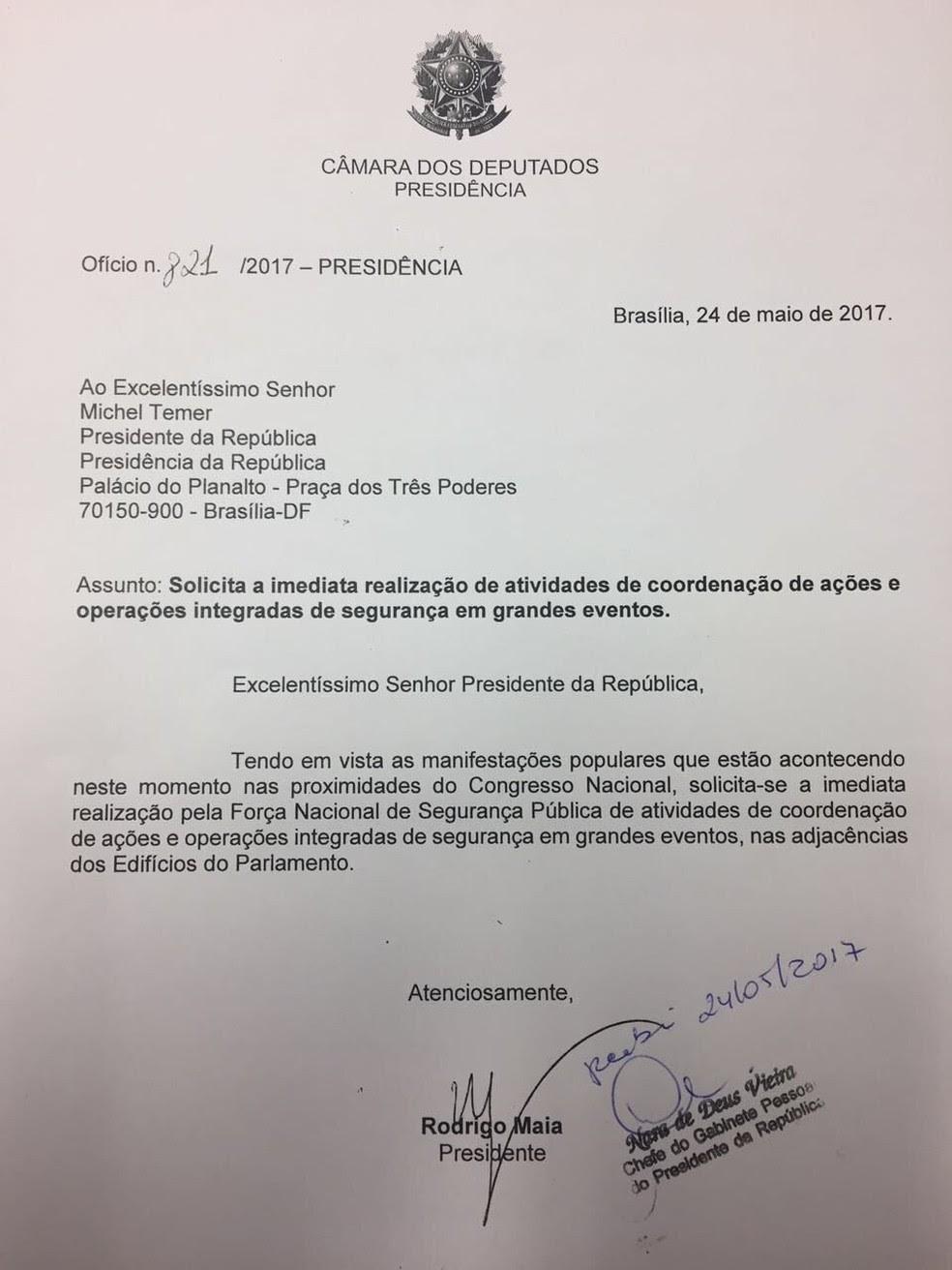 Ofício enviado por Maia ao presidente Michel Temer (Foto: Reprodução)