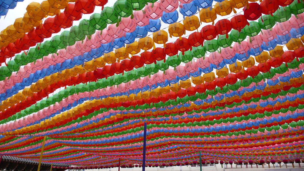 Jogyesa temple, colourfully decorated with thousands of lanterns for Buddha's birthday