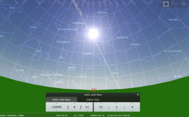 Position of the sun and stars on the summer solstice of 10,950BC