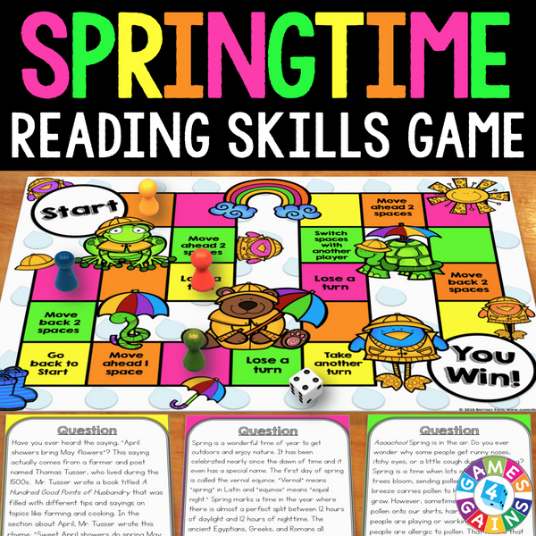 Spring Reading Prehension Board Game – Games 4 Gains