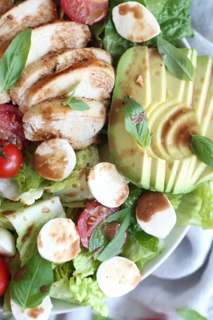 Grilled Peach Caprese Salad with Chicken and Avocado