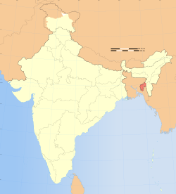 Location of Tripura (marked in red) in India