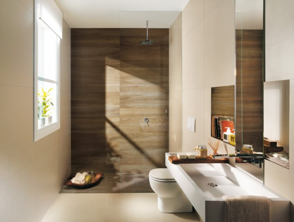 The warm looking brown backdrop in this shower gives a beautiful wood paneling effect.