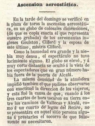 Reseña de la ascensión aerostática de Charles Clifford en el diario La Ilustración del 18 de enero de 1851