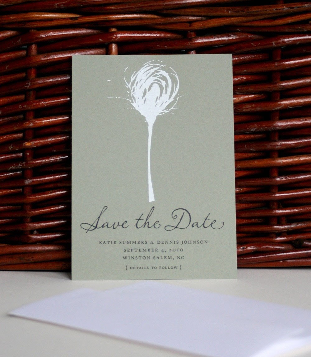 Nature print silkscreened Save the Date card