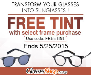 Get Free Tint with select frame purchases at GlassesShop.com! Code: FREETINT ends 5/25.