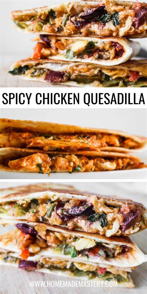 minute spicy chicken quesadilla recipe  feta cheese