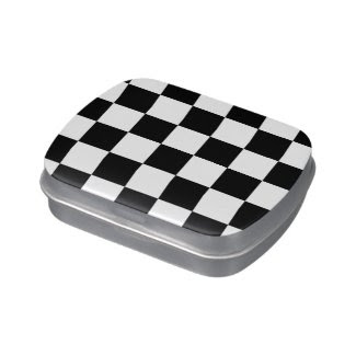 Checkered Black and White Jelly Belly Tin