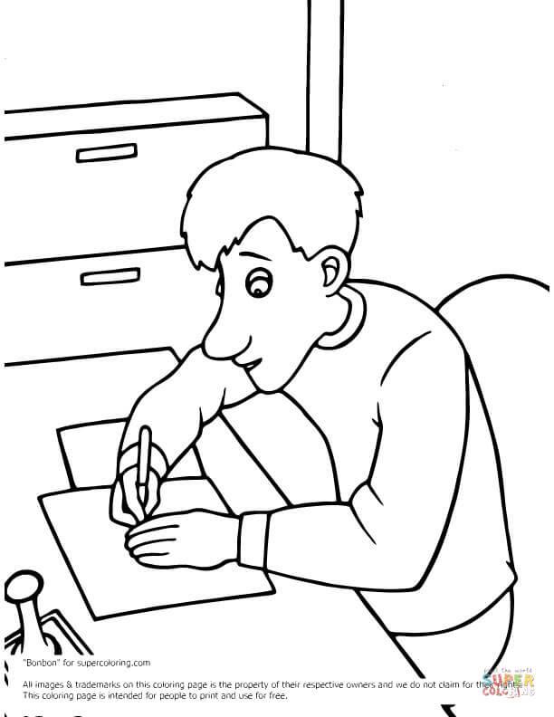 Dibujo De Arthur Christmas Escribe Sentado En Una Mesa Para Colorear