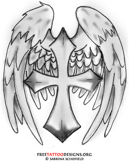 Latest Grey Ink Cross And Wings Tattoo Design