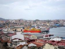 Vista Del Astillero Barreras En La Ría De Vigo