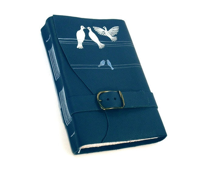 Love Birds - Blue Leather Journal - Baghy