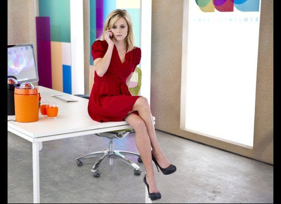 Reese Witherspoon in This Means War - Red Dress, Black Platform Pumps