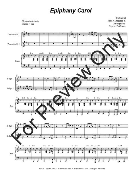 epiphany carol instrumental duet trumpet jw pepper