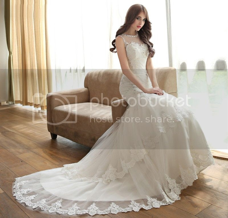 Scoop Neck Lace Appliques Beading Court Train Mermaid Wedding Dress (11341892)